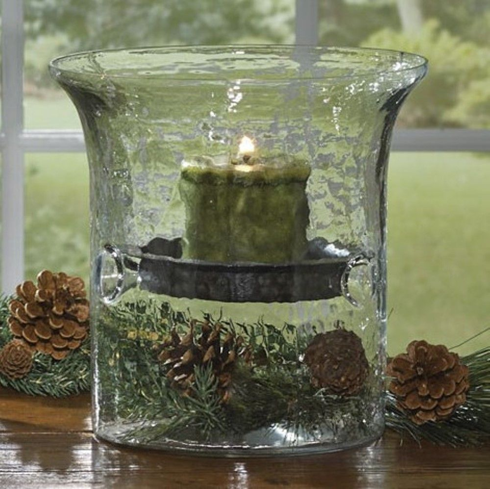 Park Designs Hammered Glass Candle Hurricane - 9in x 7in