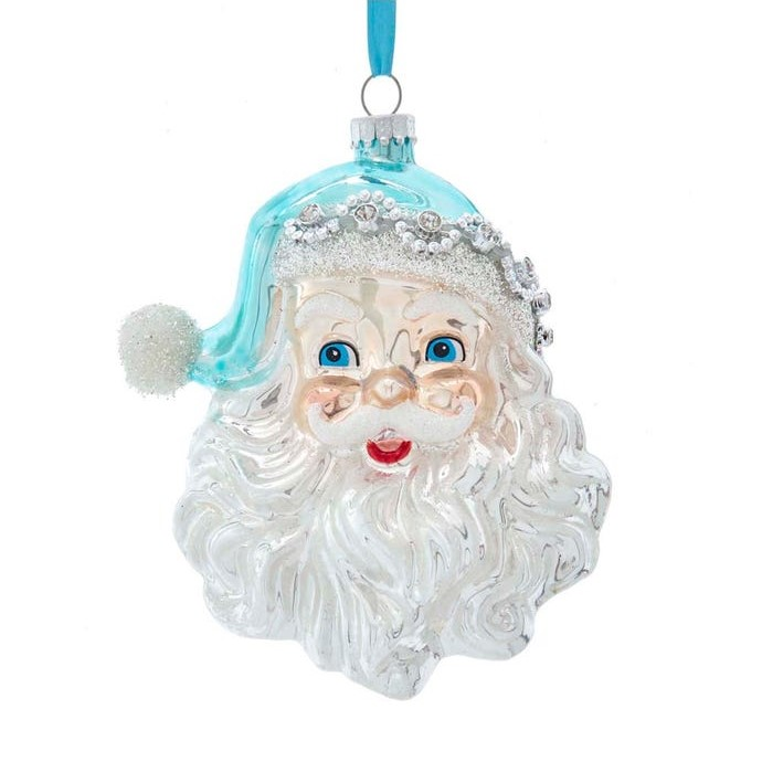 Glass Ornament - Blue/Silver Santa Head - 5.5in