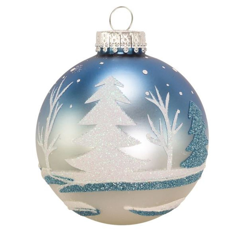 Glass Ornament - Blue Winter Scene - Set of 6