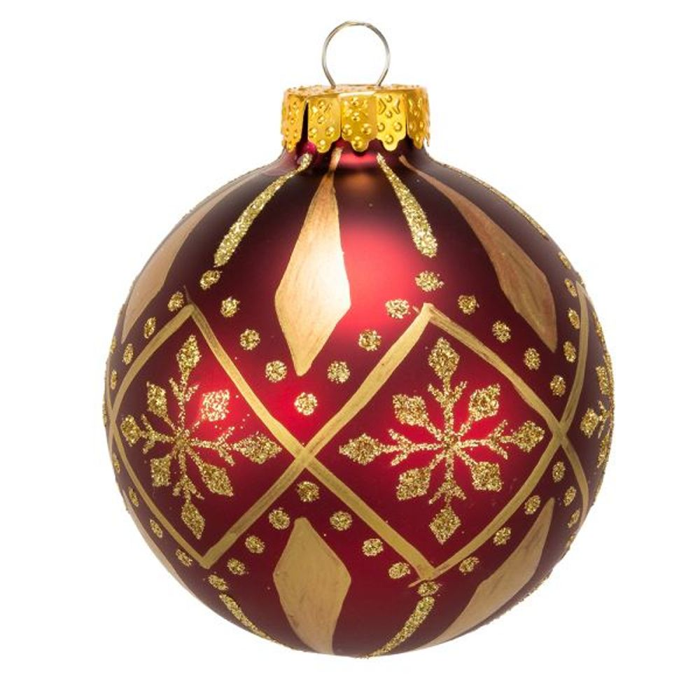 Glass Ornament - Burgundy And Gold Ball Pattern - Set of 6