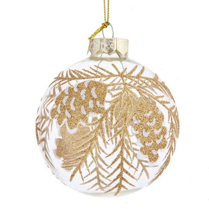 Glass Ornament - Clear Ball/Gold Pine Cones - 3.1in