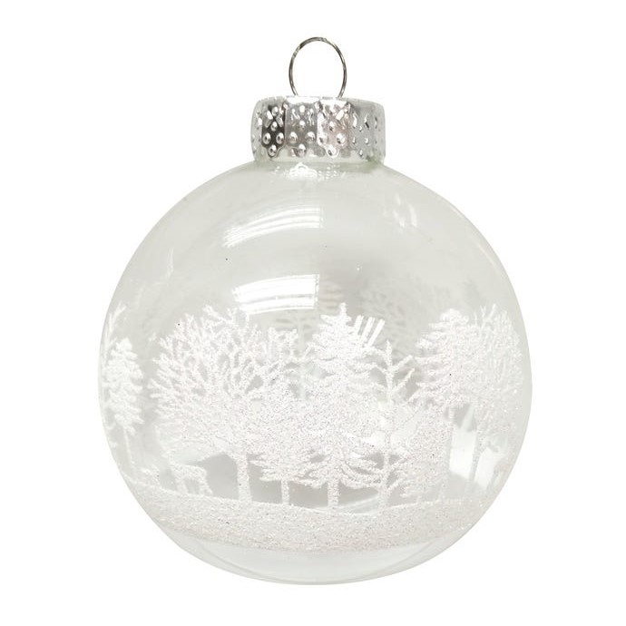 Glass Ornament - Clear Ball/White Trees - 3.1in