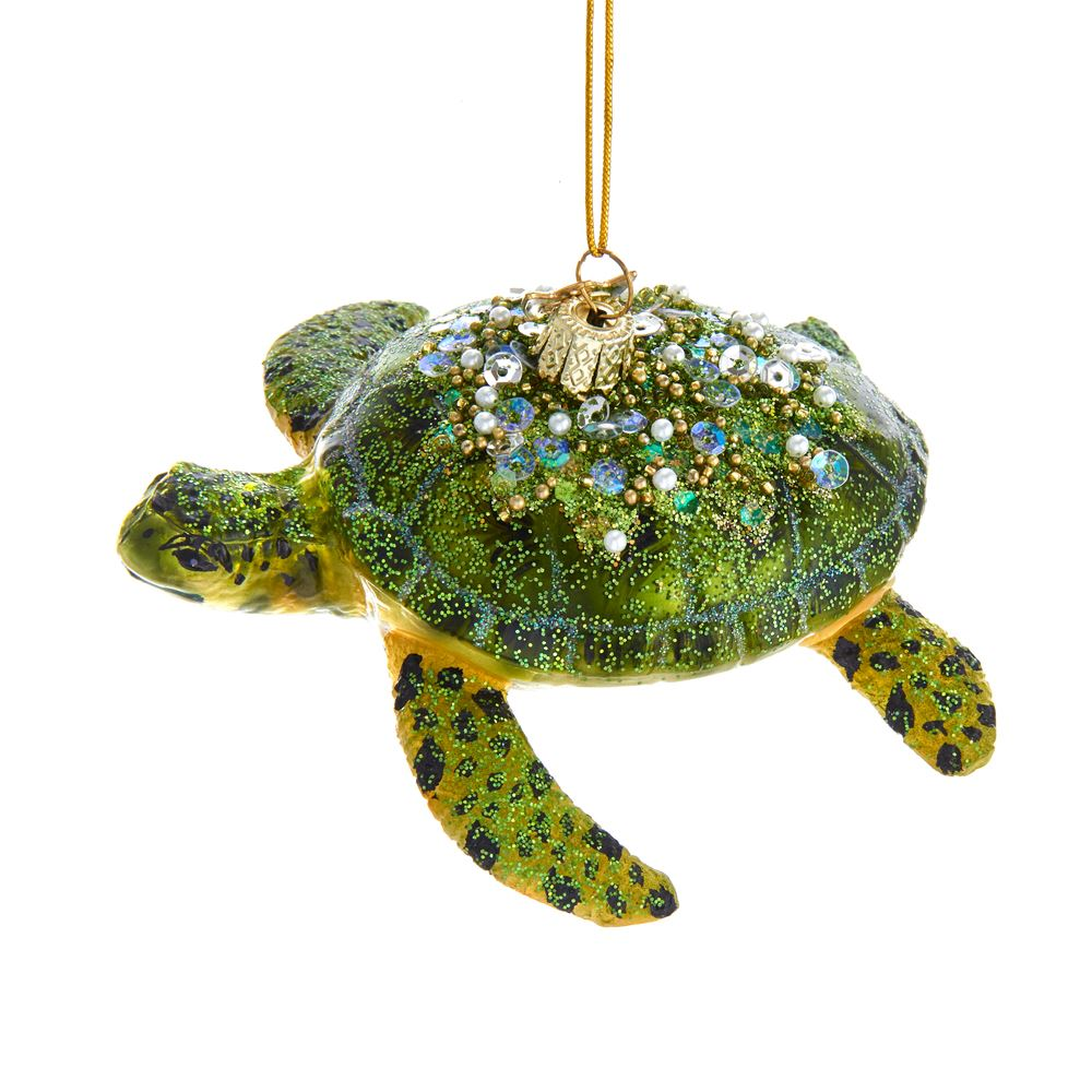 Glass Ornament - Glitter Sea Turtle - 4in