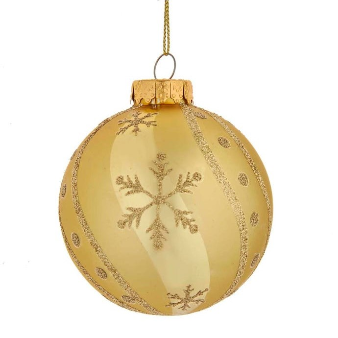 Glass Ornament - Gold Ball/Gold Snowflake - 3.1in