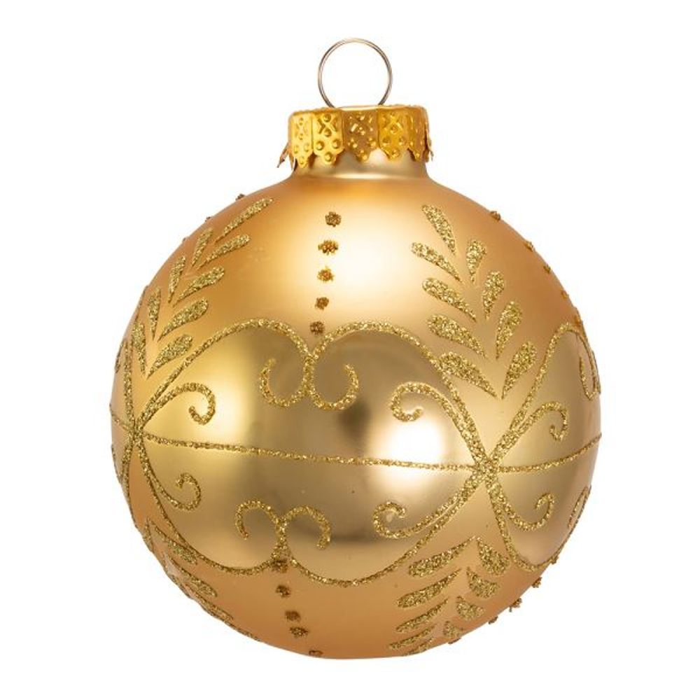 Glass Ornament - Gold Glitter Ball - Set of 6