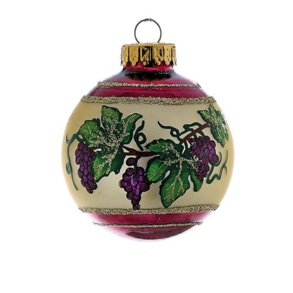 Glass Ornament - Grapevine Ball - Set of 4