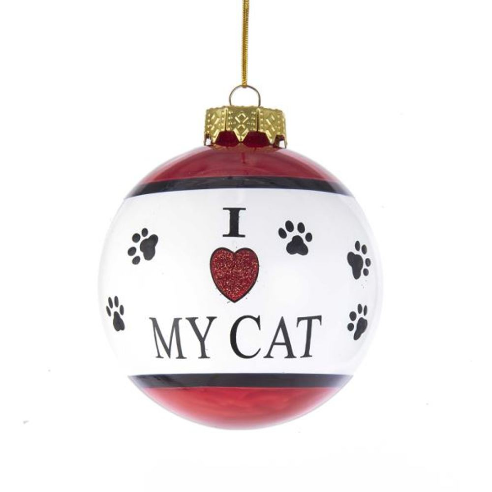 Glass Ornament - I Love My Cat - 3.15in