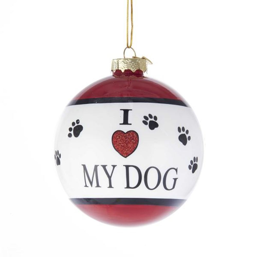 Glass Ornament - I Love My Dog - 3.15in