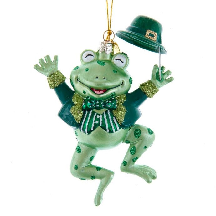 Glass Ornament - Irish Frog - 4.5in
