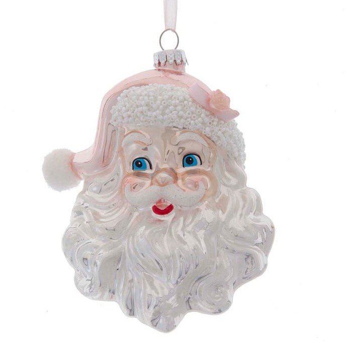 Glass Ornament - Pink/Silver Santa Head - 5.5in