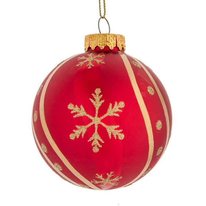 Glass Ornament - Red Ball/Gold Snowflake - 3.1in