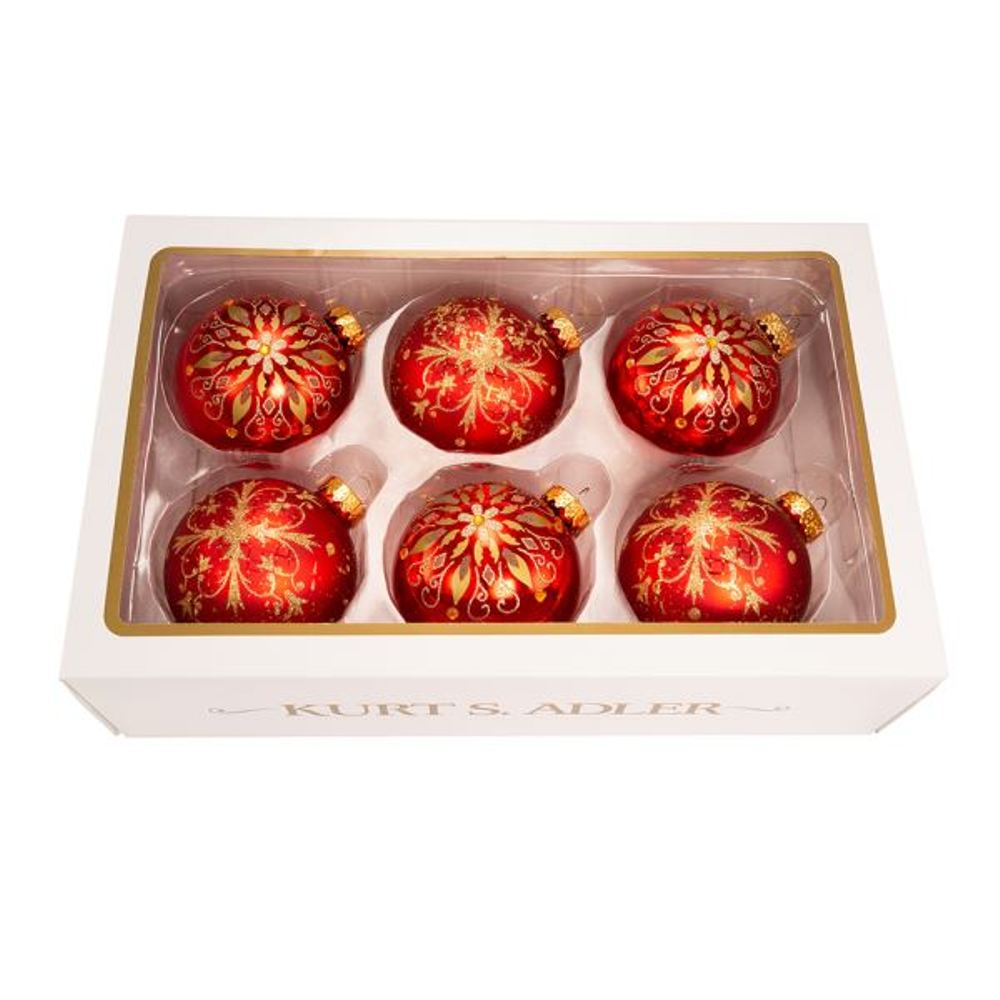 Glass Ornament - Red Ball With Gold Fancy Snowflake - Set of 6