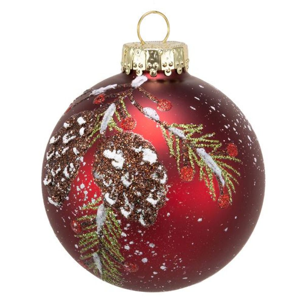 Glass Ornament - Red Ball With Pinecones - Set of 6