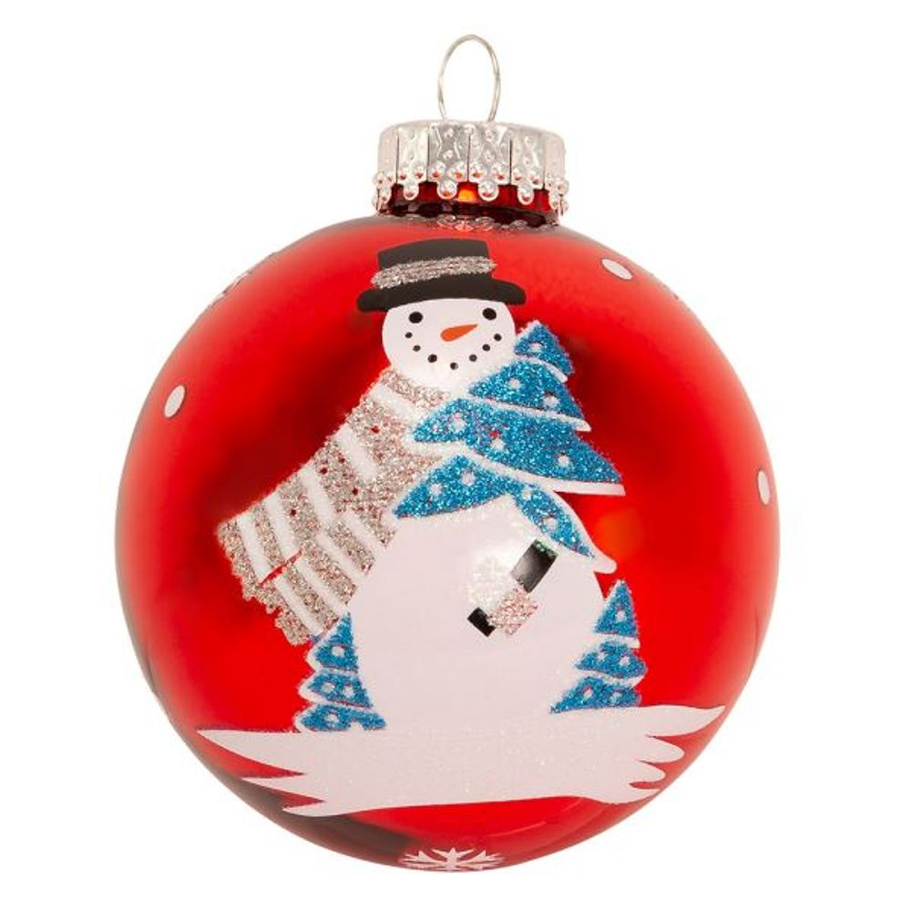 Glass Ornament - Red Ball With Snowman - Set of 6