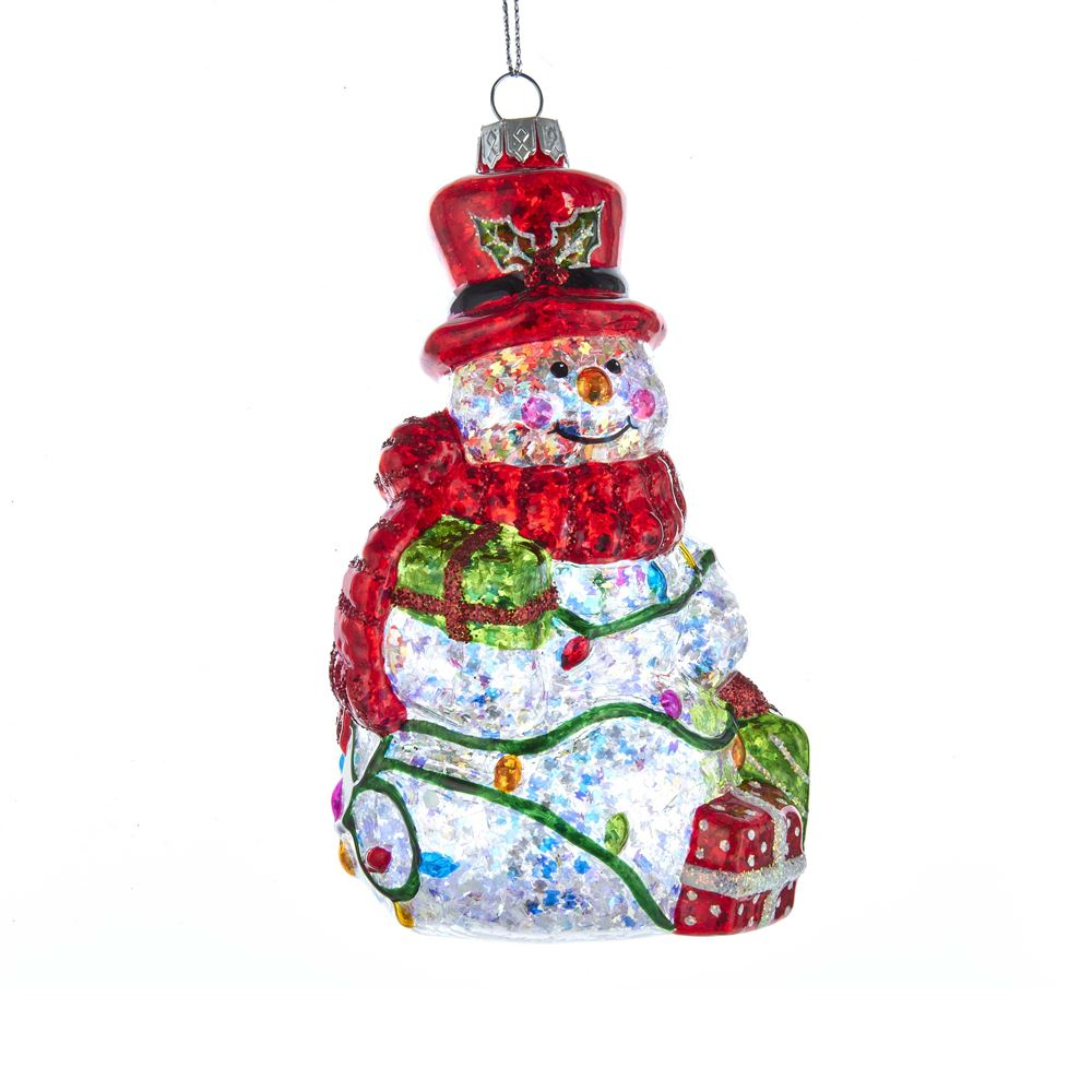 Glass Ornament - Red/Green/Clear Snowman - 5in