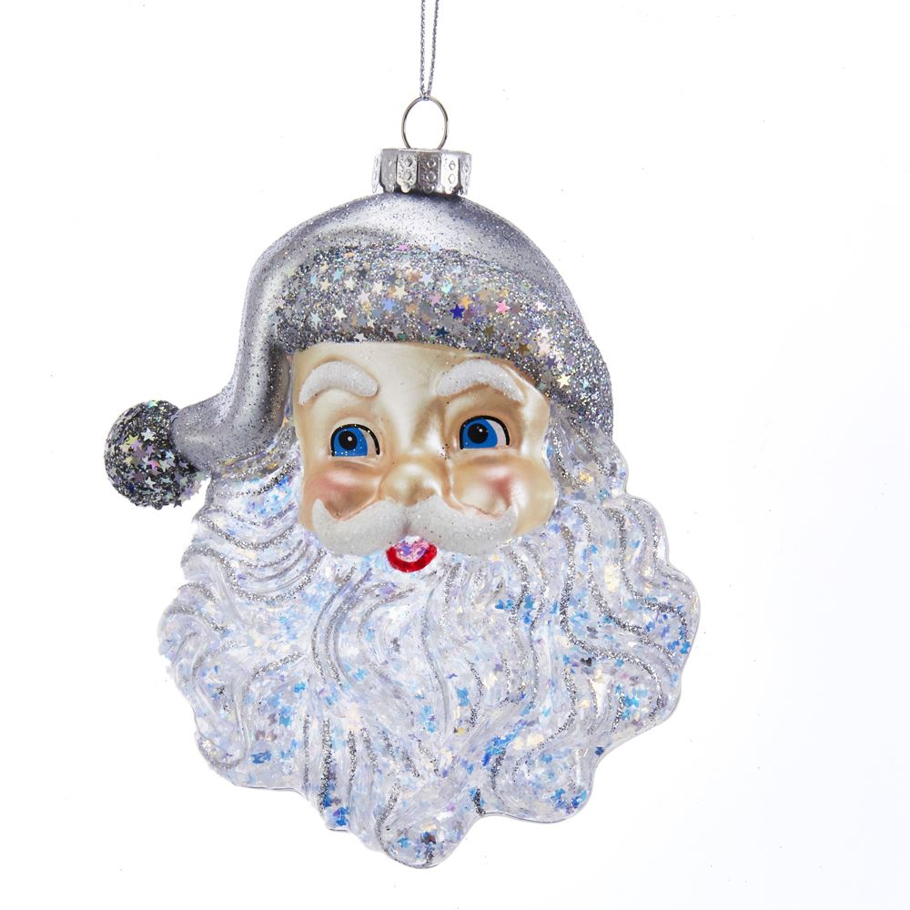 Glass Ornament - Santa Head with Silver Hat - 5in