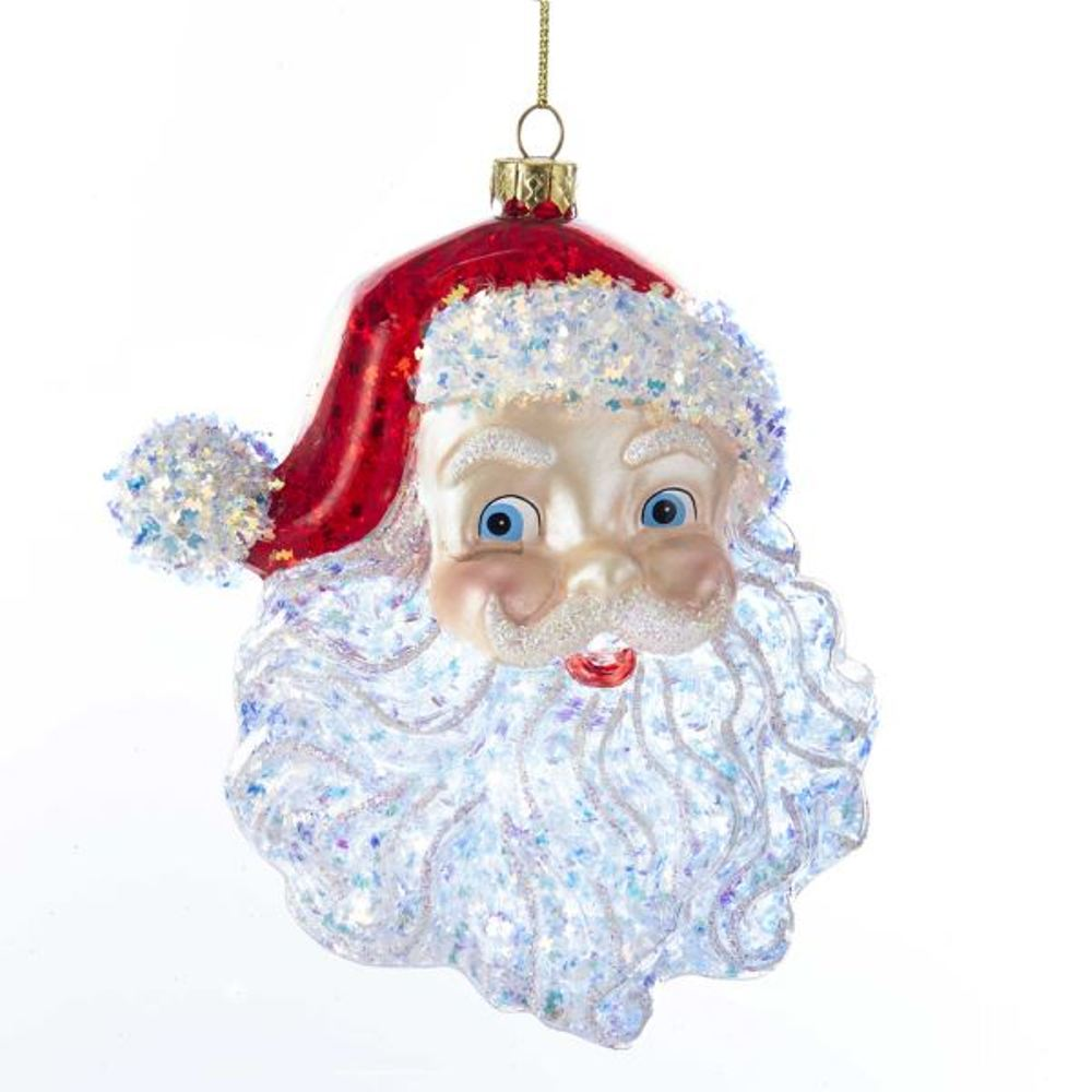Glass Ornament - Santa's Head - 5in