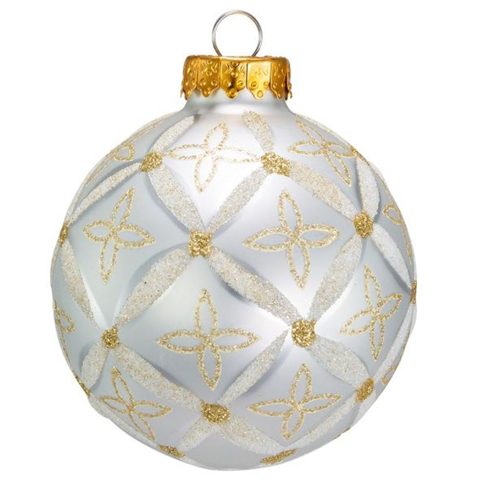Glass Ornament - Silver And Gold Ball Pattern - Set of 6