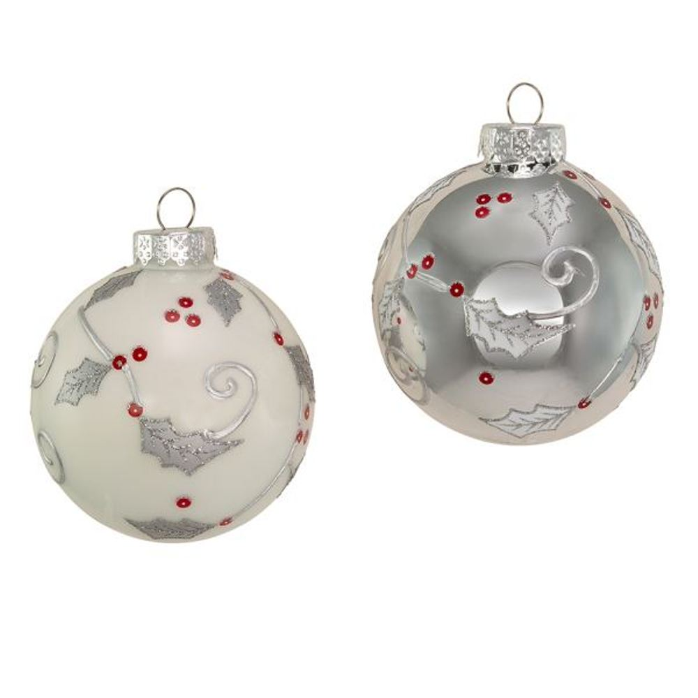 Glass Ornament - Silver And White Holly Ball - Set of 6