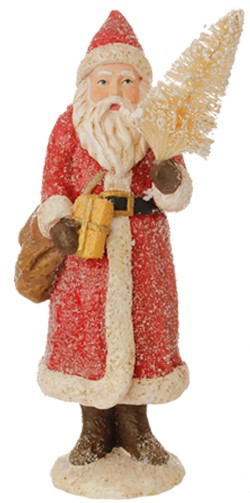 Glittered Santa Figurine - With Bottle Brush Tree - Red - 8.5in