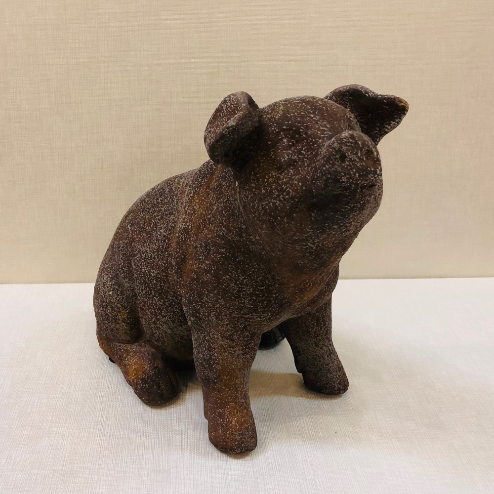 Happy Pig Garden Statue - Rustic Brown - 9in