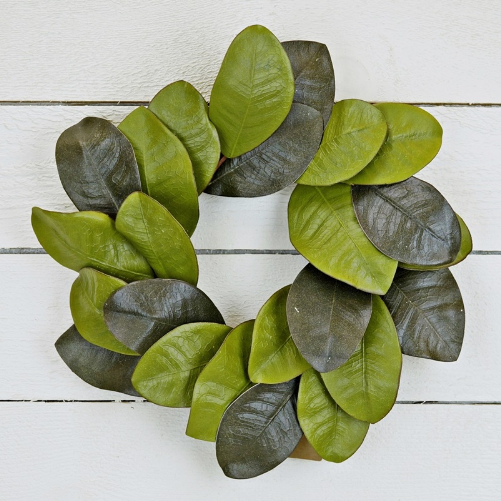 Holiday Artificial Wreath - Elegant Magnolia Leaves - 12 Inch
