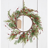 Holiday Artificial Wreath - Evergreen Pine with Red Pip Berries - 12 Inch