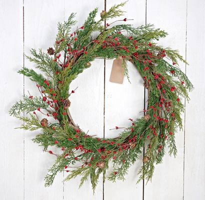 Holiday Artificial Wreath - Evergreen Pine with Red Pip Berries - 24 Inch