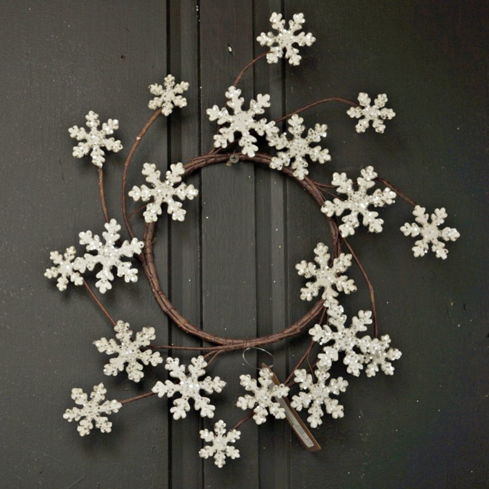 Holiday Artificial Wreath - Glitter Wood Snowflake - 12 Inch