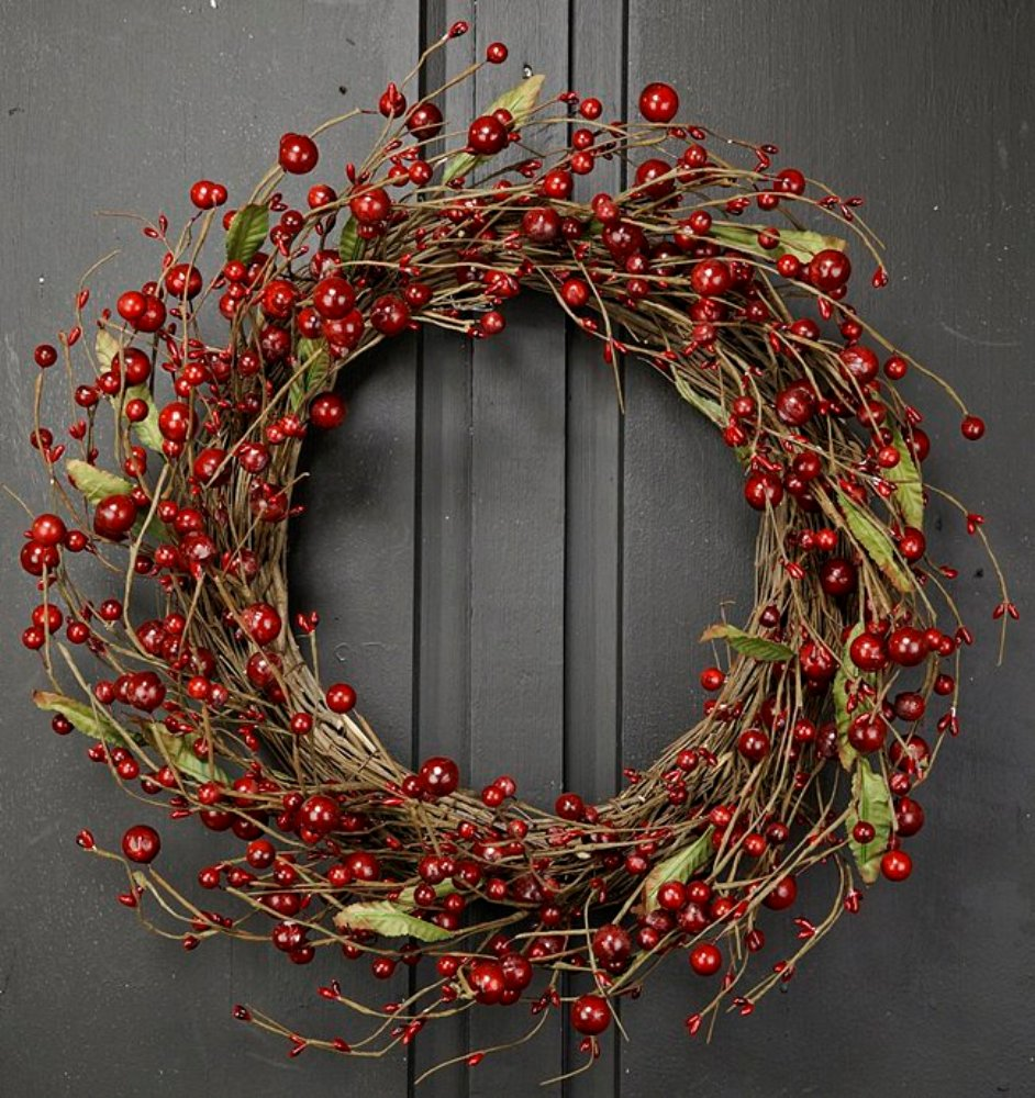 Holiday Artificial Wreath - Mixed Berry Twig - 20 Inch
