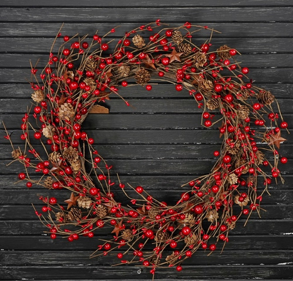 Holiday Artificial Wreath - Red Berry and Pinecones with Stars - 20 Inch