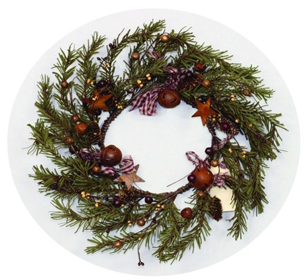 Holiday Artificial Wreath - Rustic Berry, Bell, and Star Pine - 12 Inch