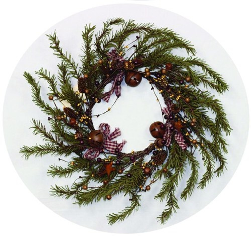 Holiday Artificial Wreath - Rustic Berry, Bell, and Star Pine - 16 Inch