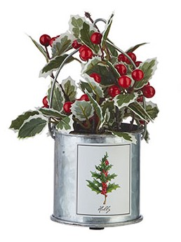 Holiday Botanicals Arrangement - Holly Berry Tin - 7.5 Inch