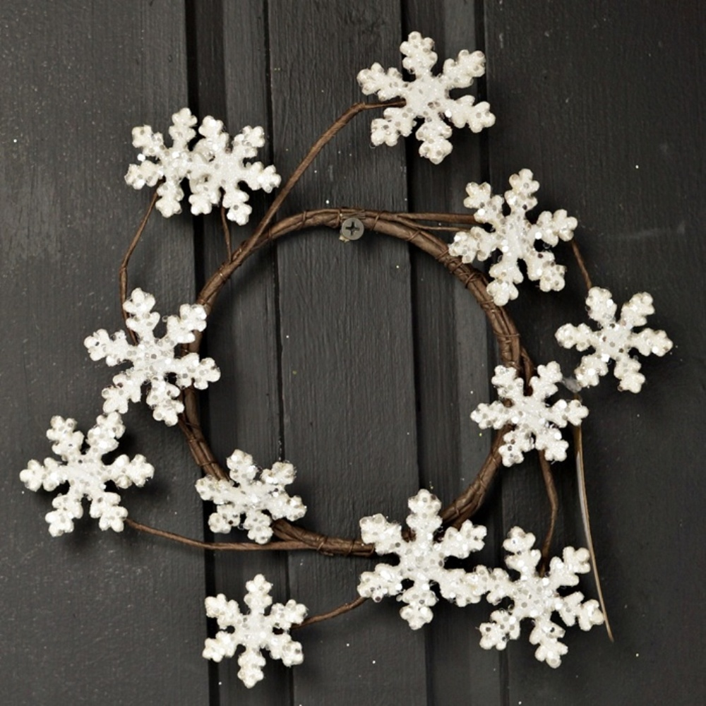 Holiday Candle Ring - Glitter Wood Snowflake - 4.5in