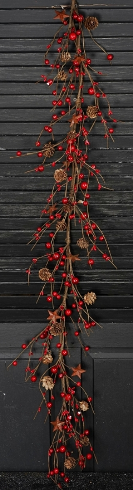 Holiday Garland - Red Berry and Pinecones with Stars - 5 ft