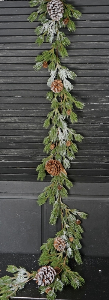 Holiday Garland - Snowy Brush Pine - 5 ft