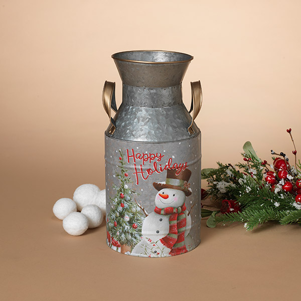Holiday Snowman Milk Can - Metal - 11.25in