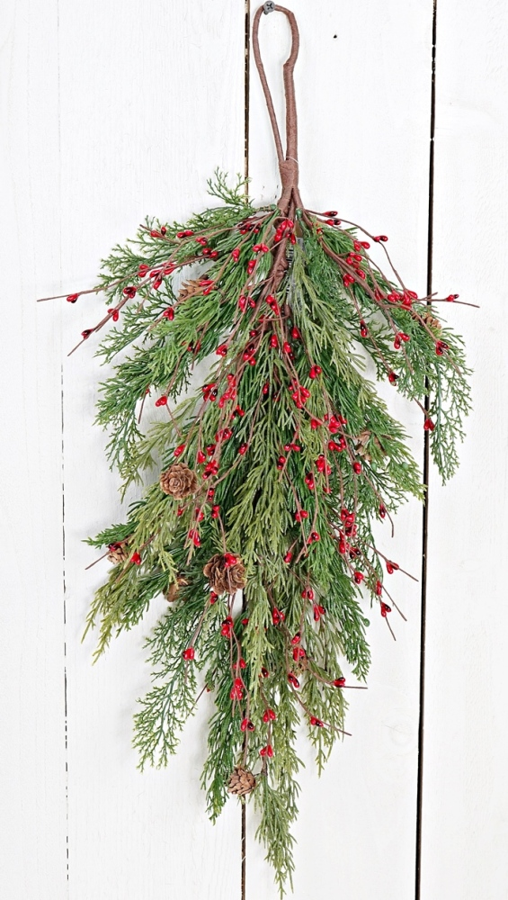 Holiday Teardrop - Evergreen Pine with Red Pip Berries - 30 Inch