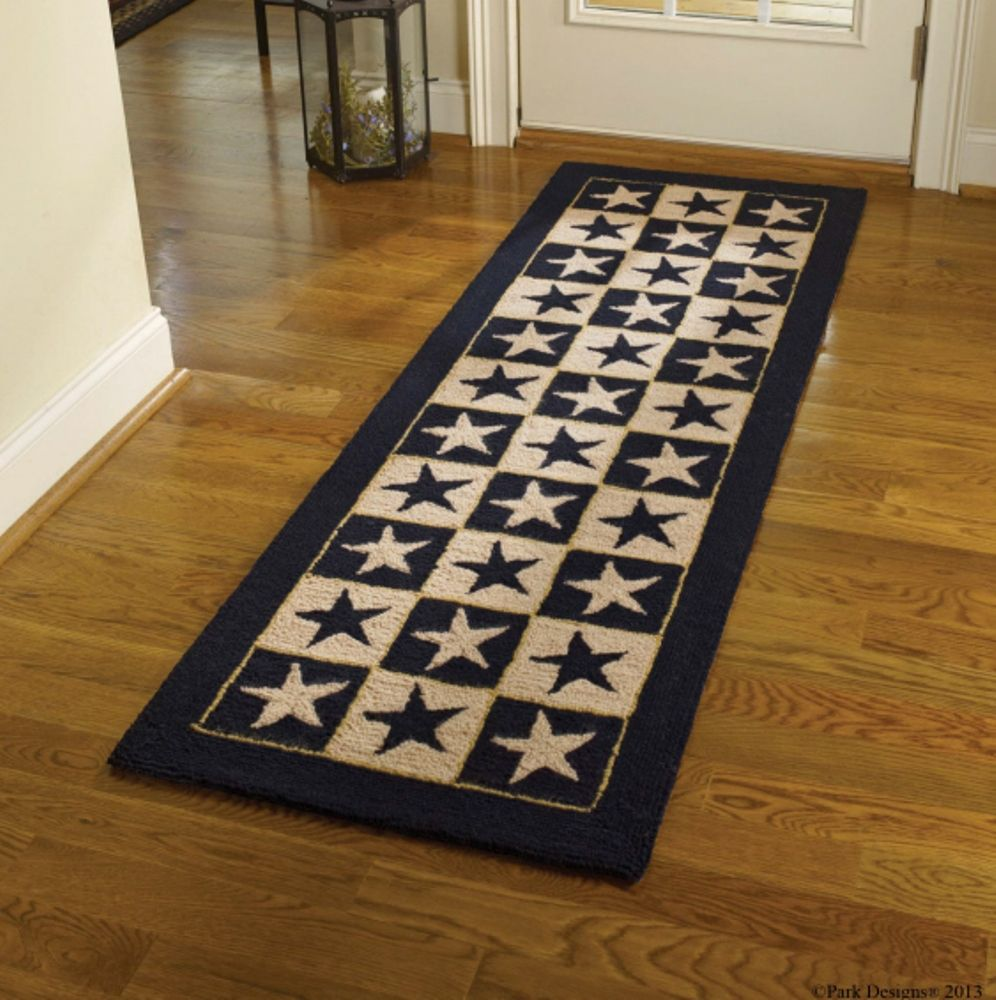 Poly Hooked Rug Runner  - Black Star - 24in x 72in