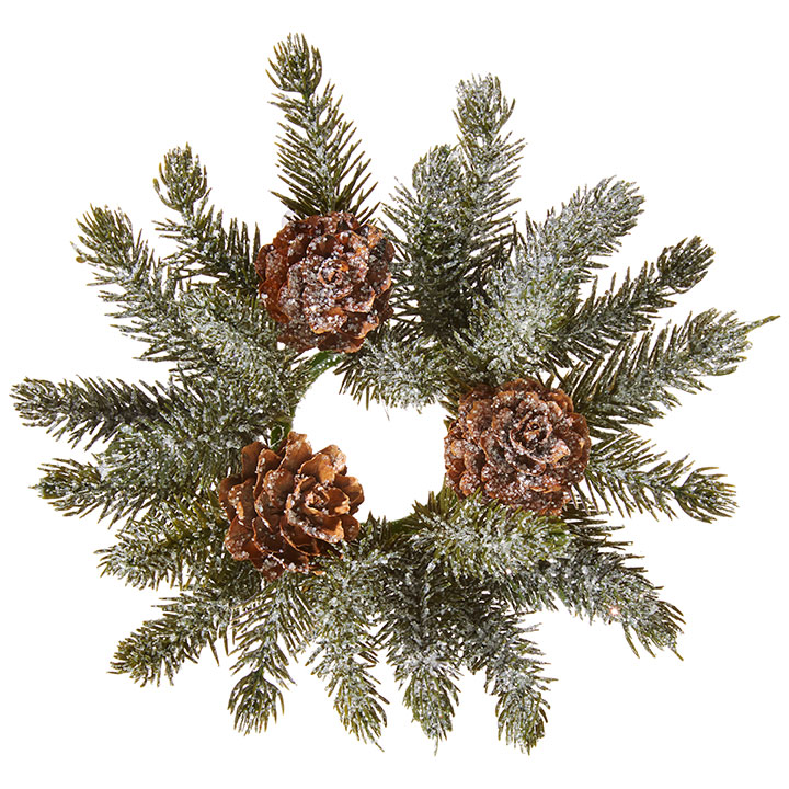 Iced Pine Candle Ring - With Pine Cones - 1in