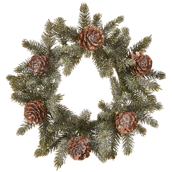 Iced Pine Candle Ring - With Pine Cones - 4.25in