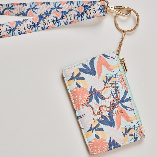 Ivory Ella Lanyard ID Case - Tropical Leaves