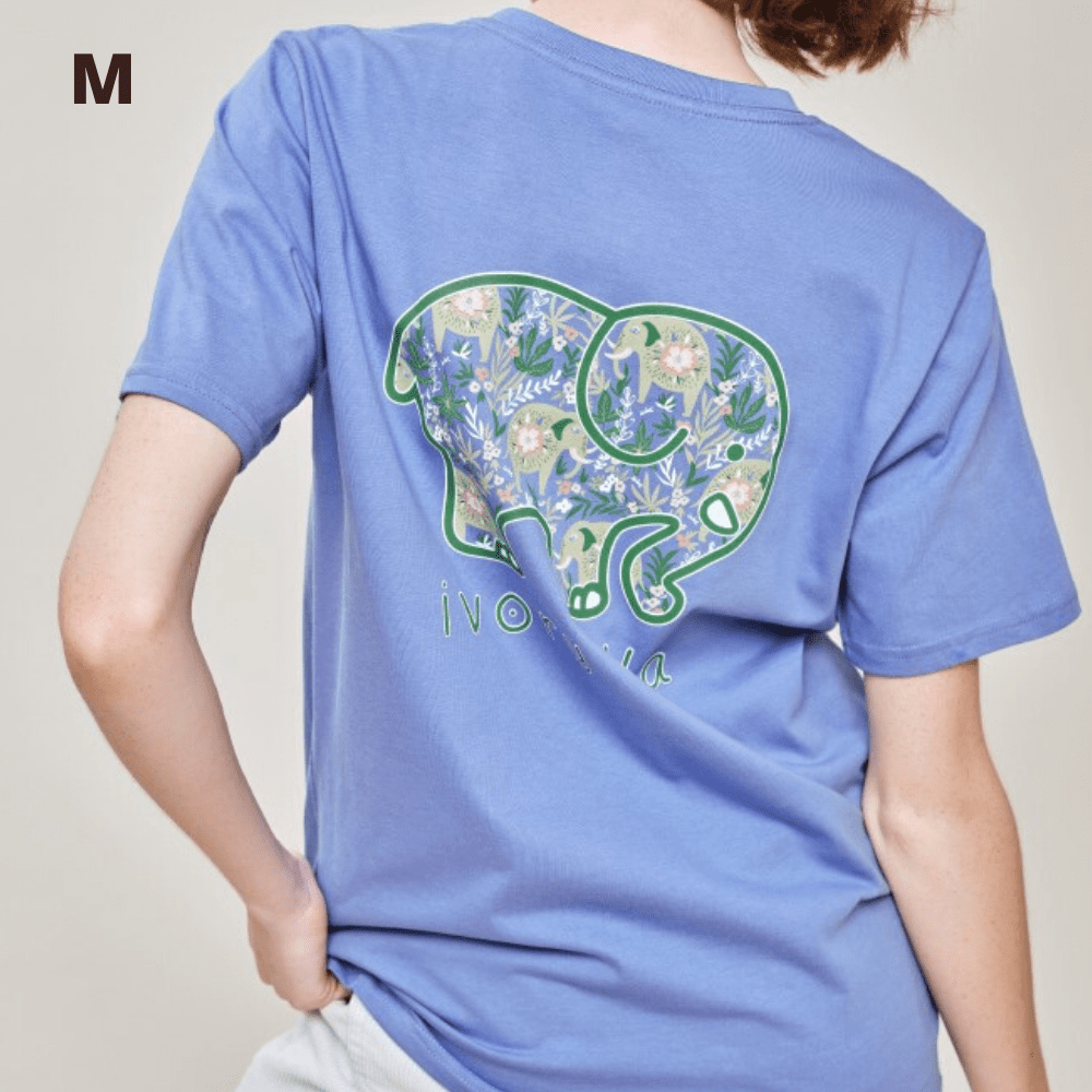 Ivory Ella T Shirt - Baja Elephants Blue - M