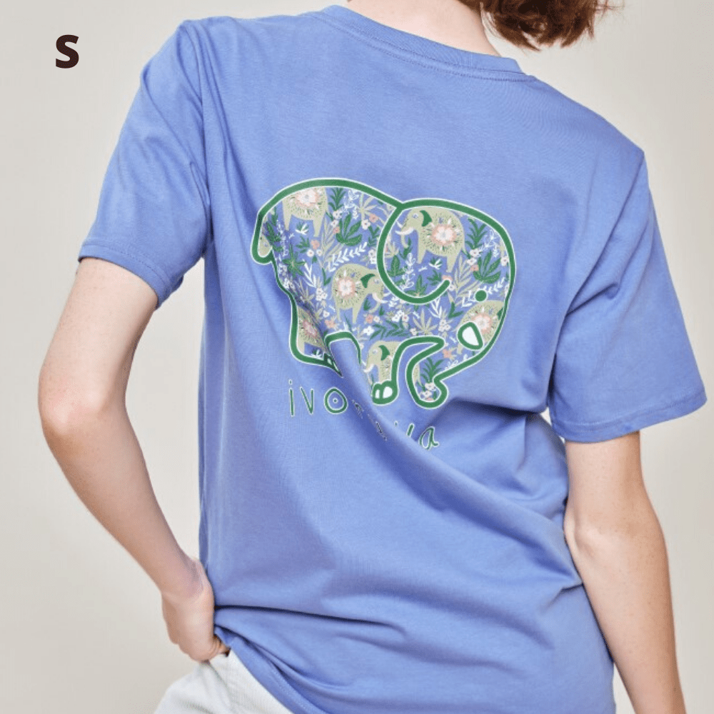 Ivory Ella T Shirt - Baja Elephants Blue - S