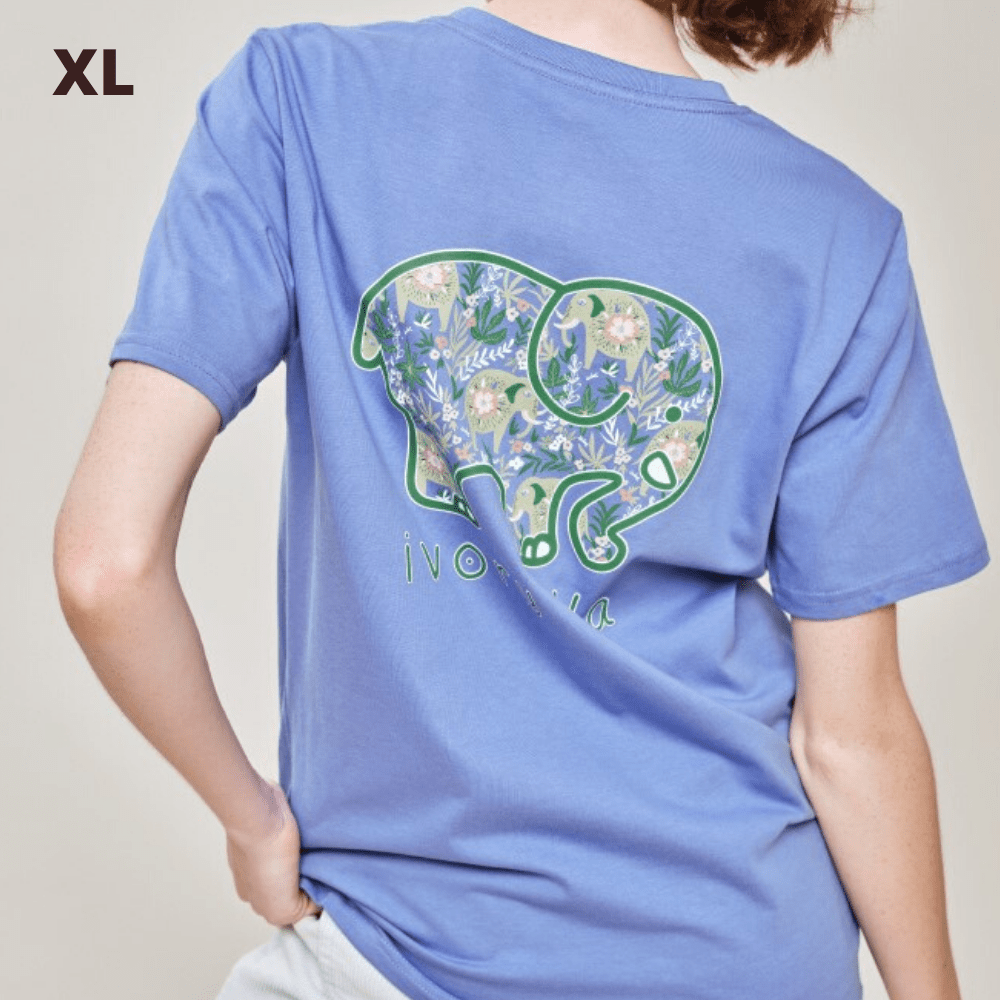 Ivory Ella T Shirt - Baja Elephants Blue - XL