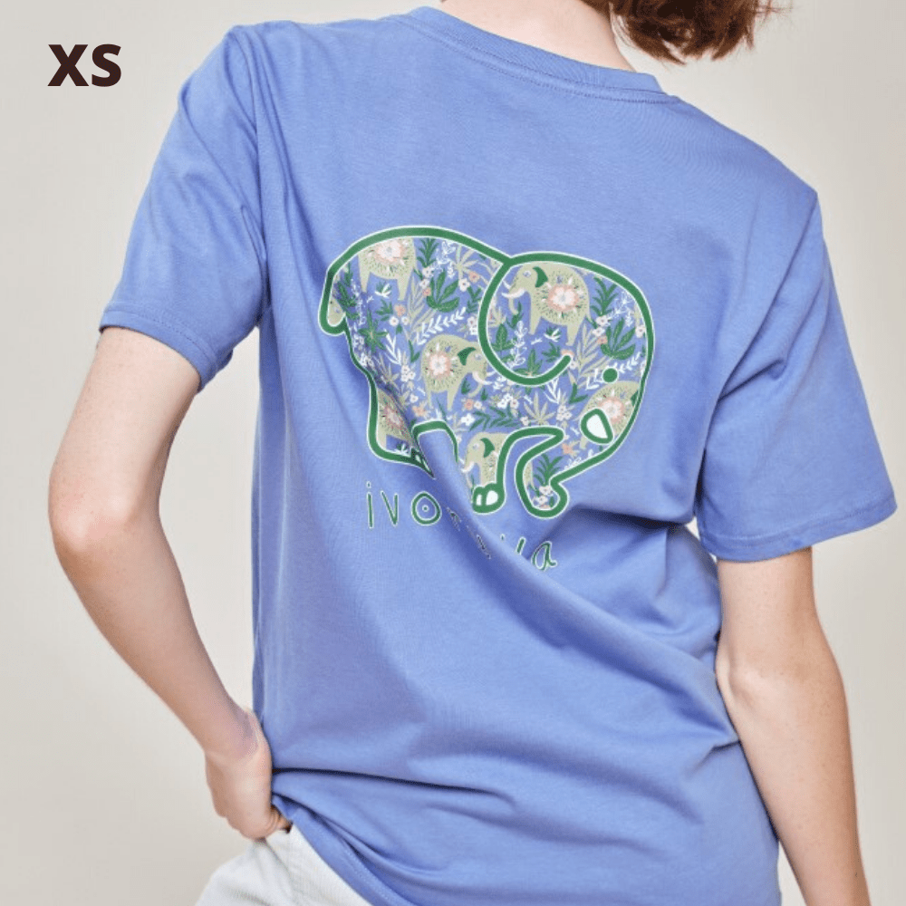 Ivory Ella T Shirt - Baja Elephants Blue - XS