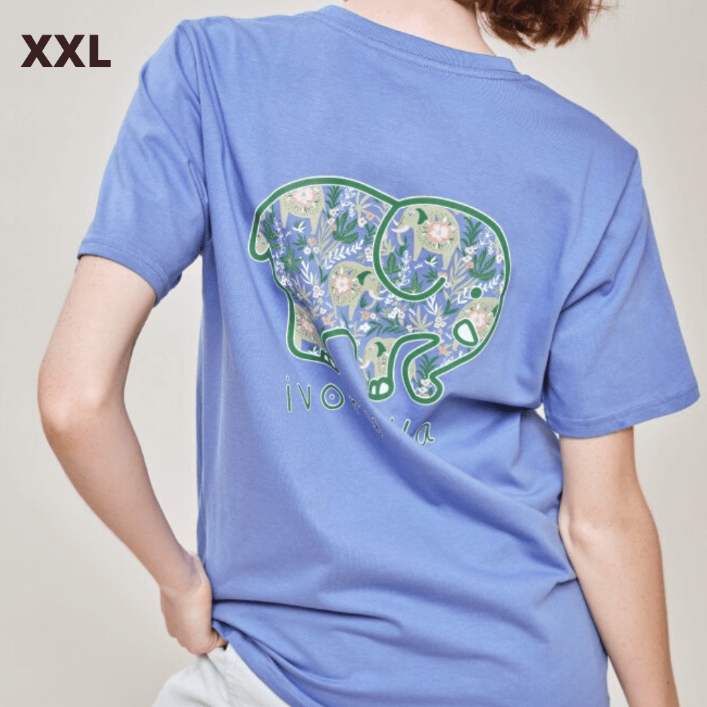 Ivory Ella T Shirt - Baja Elephants Blue - XXL