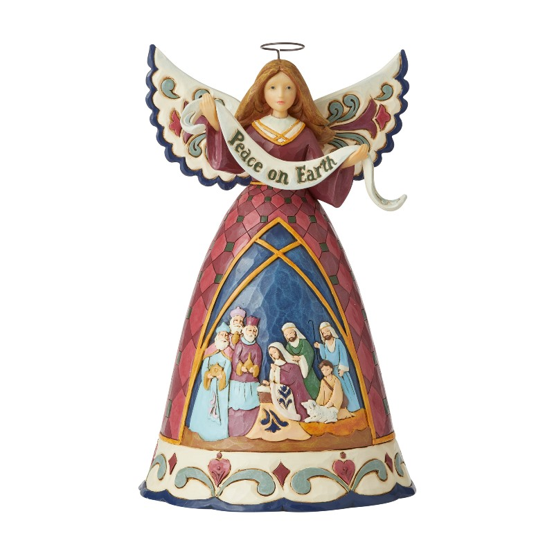 Jim Shore Figurine - Nativity Angel With Peace Banner 2020