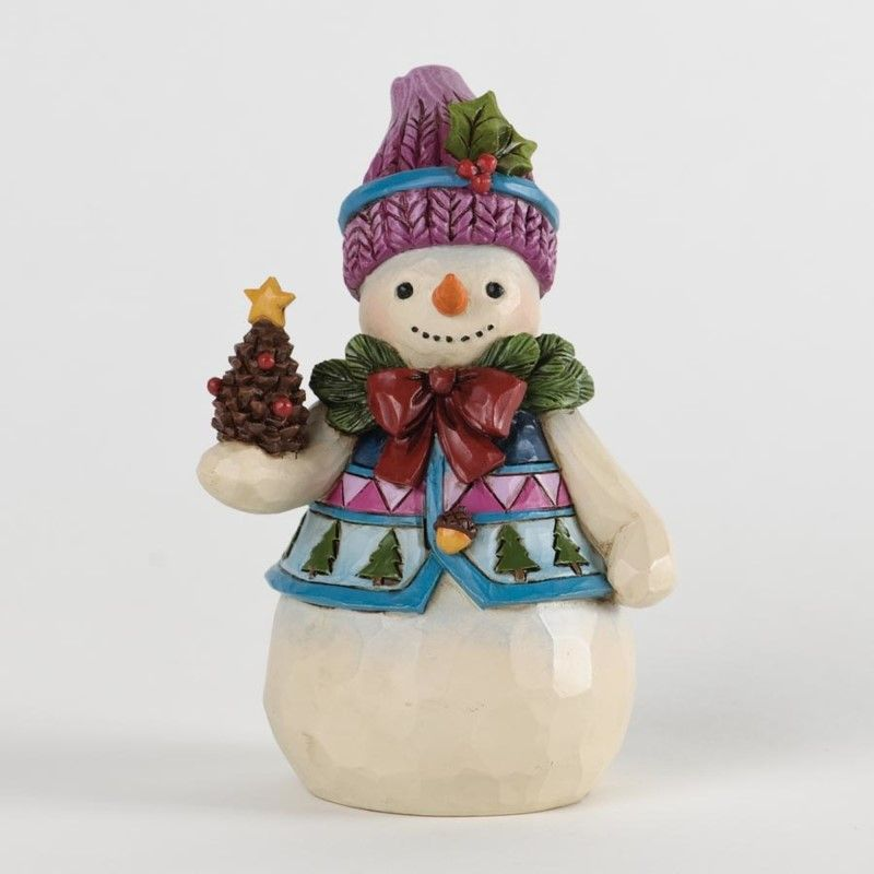 Jim Shore Figurine - Pint-sized Snowman with Pinecone